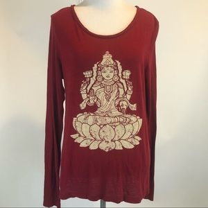 Lucky Lotus Red Open Back Graphic Long Sl Shirt